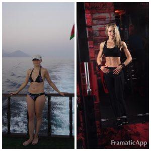 Разница между фотографиями 10 месяцев. Часто прогуливала тренировки, но это не помешало добиться результата, потому что контроль моего питания был ежедневный и строгий)